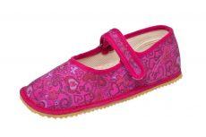 Barefoot Beda barefoot - balerínky - růžové se srdíčky bosá