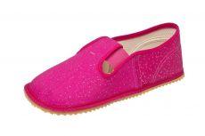 Beda barefoot - papučky růžová, třpytivá