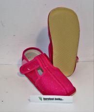 Beda barefoot - užší bačkorky suchý zip -růžové třpytky