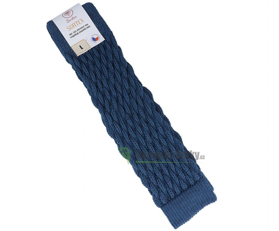 Barefoot Surtex návleky tmavé 95% merinové vlny silné modré bosá