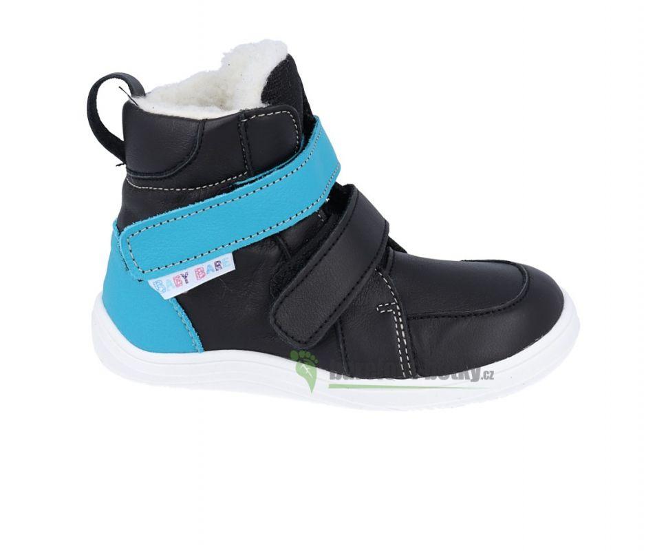 Barefoot Zimní boty Baby bare shoes Febo black bosá