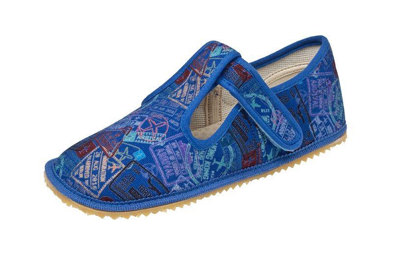Barefoot Beda barefoot - bačkorky suchý zip - modré s nápisy bosá