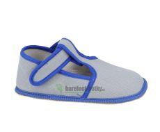 Barefoot Beda barefoot - užší bačkorky suchý zip - šedé s modrým lemováním bosá