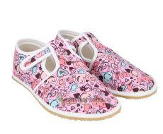 Barefoot Jonap papučky růžové se srdíčky bosá