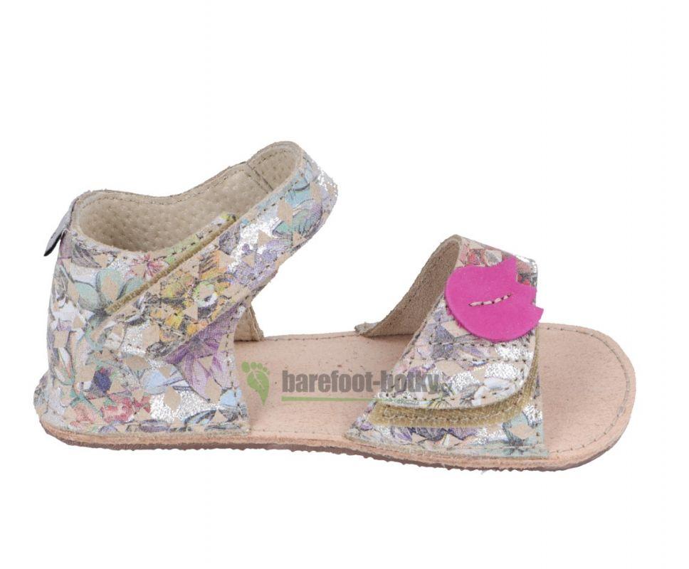 Barefoot Ortoplus barefoot sandálky D203 leské kytka motýl bosá
